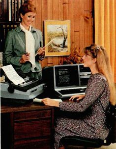 Pictures of women using boxy office computers from the early 1980s   Dangerous Minds