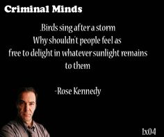 Birds sing after a storm. Why shouldn't people feel as free to delight in whatever sunlight remains to them-- Rose Kennedy said by Jason Gideon
