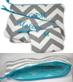 Set of 3 Personalized cosmetic bag