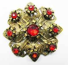 Ornate Vintage 1930s Gold Toned Ruby Red by GildedTrifles on Etsy