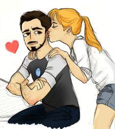 [Fanart: Pepper Potts kissing Tony Stark's ear.]