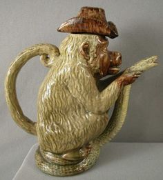 Caldas Da Rainha, Portugal majolica Palissy Ware figural monkey teapot with pirate three corner hat, snake base and spout. Sea Activities, Cute Teapot, Antique Pottery, Asian Design, Historical Artifacts, Pottery Sculpture, Tea Cozy, Ceramic Teapots, Coffee Pods
