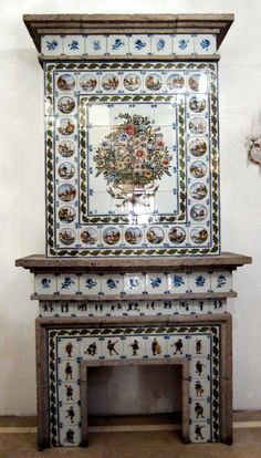 Dutch tile fireplace mantel at Royal Tichelaar Makkum. Fireplace Surrounds, Fireplace Design, Fireplace Mantels, Tile Fireplace, Corner Fireplaces, Fireplace Fender, Vintage Fireplace, Holland, Old Pottery