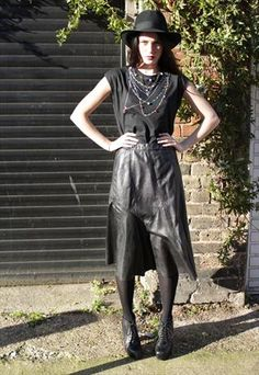 Vintage 1980's Black Leather Snake Effect Skirt