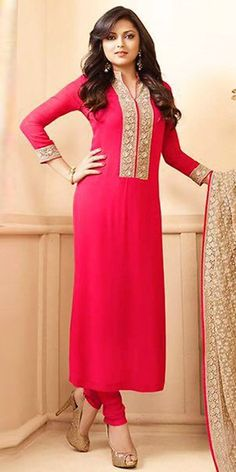 Madhubala Georgette Pink And Beige Straight Suit With Dupatta.