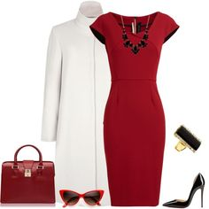 A fashion look from July 2014 featuring mini dress, white coat and high heeled footwear. Browse and shop related looks.