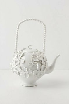 White floral tea pot