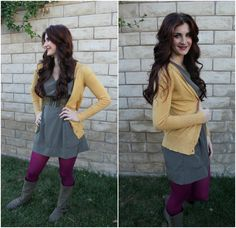 coordinating colored tights with outfit