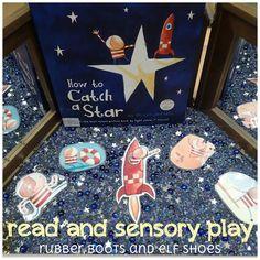 Kindergarten children retell Oliver Jeffer's book How To Catch a Star with a sensory bin. Sensory Bins, Sensory Play, Sensory Table, Play Based Learning, Learning Through Play, Kindergarten Activities, Book Activities, Sensory Activities, Fall Preschool
