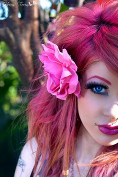 pink hair and flower