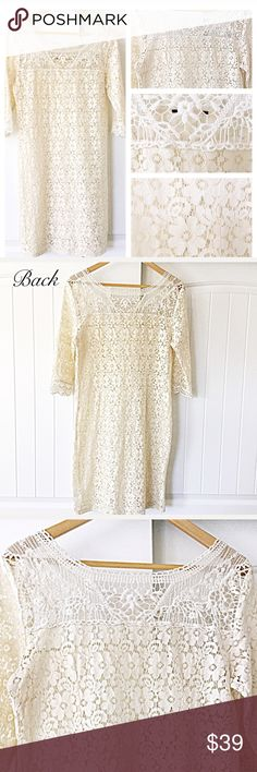 "🥀CABLE AND GAUGE LACE DRESS 🥀CABLE & GAUGE LACE DRESS - This combination crochet and lace dress is absolutely stunning.  The lace is delicately woven and Is see through.  Size M (8-10) Bust 36 1/2"" Hips 39"" Waist 33"" Shoulder to Shoulder is 16"".  54% Nylon 46% Cotton.  Cotton decoration 100% Cotton.  rN 73163M (8-10).  BUST 36.5"" HIPS 39"" WAIST 33"".  RN 73163 No tag. Never worn.  Stored in smoke free home.  Machine wash.  Lay flat to dry.  All reasonable offers considered. Bundle for an…"