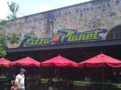 Toy Story's Pizza Planet, Hollywood Studios, Disneyworld - we had lunch here, they had a delicious caesar salad, really good personal pizzas - cheese, pepperoni, and veggie, and our meal plan included a dessert too so we got Cappuccino Cupcakes, which were pretty fantastic!