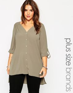 e9405d4945a Image 1 of New Look Inspire Collarless Shirt. Fashionable Plus Size ...