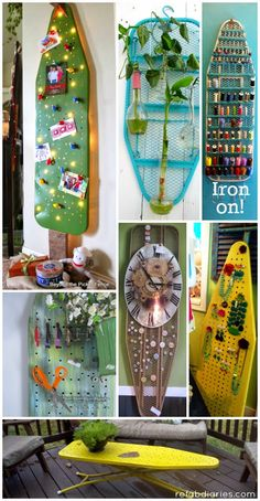 Ironing boards aren't boring. ReFab Diaries: Upcycle: Ironing boards aren't boring. A fantastic roundup of ideas for upcycling iron boards!ReFab Diaries: Upcycle: Ironing boards aren't boring. A fantastic roundup of ideas for upcycling iron boards! Vintage Ironing Boards, Wooden Ironing Board, Ironing Board Storage, Recycled Crafts, Diy And Crafts, Wooden Crafts, Iron Board, Repurposed Items, Sewing Rooms