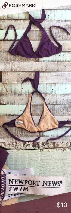 Newport News purple halter bikini top w/ tie back Super sexy purple halter bikini top with tie back. Fully lined and made very well. Holds the girls into place and can also serve as a sport top, it's THAT supportive 👍🏼 Says size 8, but can really fit any cup size from a B through a D. A fun mix and match piece 😊🌺👙 Newport News Swim Bikinis