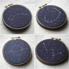 Love constellation embroidery  How pretty!  I'd love to see the pattern for this! Looks pretty easy.