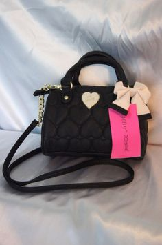 BETSEY JOHNSON Mini Speedy Crossbody PURSE Satchel BE MINE BLACK NWT #BetseyJohnson #CrossBodyMiniSpeedySatchelPURSE