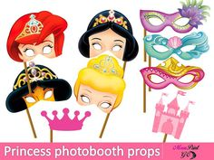 PRINCESS PHOTOBOOTH PROPS, PRINCESS PARTY PHOTOBOOTH PROPS, FUN PARTY. You will get: A high-resolution PDF file will be available for download immediately following purchase. You can print them many times if you need... Here is what to do: Just Simply Print, Cut, and tape or glue to a