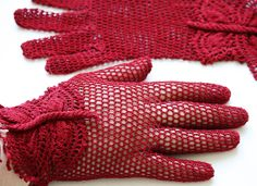 Vintage Style Crochet Lace Butterfly Gloves, red. $46.00, via Etsy.