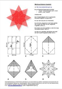 PDF for window star in German. Handicraft instructions for a poinsettia from T . - PDF for window star in German. Handicraft instructions for a Christmas star made of tracing paper - Origami Stars, Origami Flowers, Paper Flowers, Origami Simple, Useful Origami, Christmas Star, Christmas Crafts, Papier Kind, Diy Papier