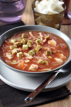 Chinese tomatensoep met kip en gember