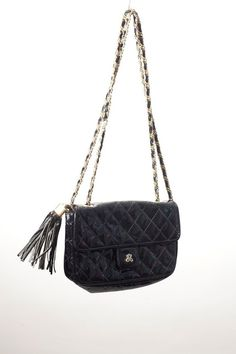 Black  Patent Handbag Quilted Chain Strap Gold by VintageCommon, $34.00