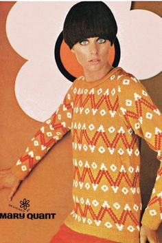 Adult Mary Quant Knitted Jumper Knitting Pattern Retro - PDF - sent by EMail 60s And 70s Fashion, Mod Fashion, Vintage Fashion, Hijab Fashion, Mary Quant, Op Art, Style Année 60, Style Ancien, Jumper Knitting Pattern