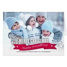 Merry Christmas. Happy Everything Custom Photocard Card - Xmascards ChristmasEve Christmas Eve Christmas merry xmas family holy kids gifts holidays Santa cards