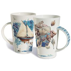 Drink up with these quaint Cosastal Impressions Mug Beach Theme Kitchen, Kitchen Themes, Beach Kitchens, Porcelain Mugs, Mugs Set, Beach Themes, Sea Shells, Coastal, Great Gifts