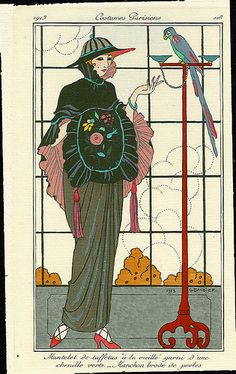 Fashion Plate By George Barbier. a French illustrator He was a multi-talented artist whose works included theatre designs, book illustrations and haute couture fashion plates. Art Deco Illustration, Fashion Illustration Vintage, Fashion Illustrations, Pattern Illustrations, Art Deco Posters, Vintage Posters, Vintage Art, Art Nouveau, Moda Art Deco