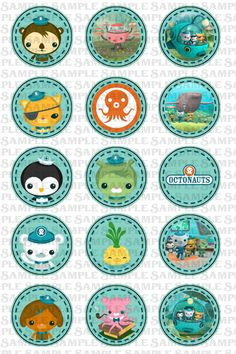 INSTANT DOWNLOAD -- Octonauts themed -- 1 inch circle 4x6 Digital Bottle Cap Collage