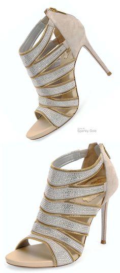 Rene Caovilla ~ Beige Cage Heels w Silver Detail 2015