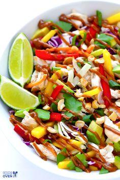 Rainbow Thai Chicken Salad   gimmesomeoven.com #glutenfree