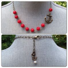 Sailor Jane Anchor Red Stone Beaded Necklace