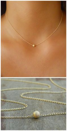 A beautiful, delicate everyday bead necklace. Perfect to wear alone or for layering with more necklaces. ◂▸◂▸◂▸◂▸◂▸◂▸◂▸◂▸◂▸◂▸◂▸◂▸◂▸◂▸◂▸◂▸◂▸◂▸◂▸◂▸◂▸ ⊹ D e t a i l s Gold filled chain. Gold filled stardust bead Gold filled spring clasp and links Jewelry For Her, Dainty Jewelry, Cute Jewelry, Bridal Jewelry, Jewelry Necklaces, Cross Jewelry, Simple Jewelry, Boho Jewelry, Jewlery