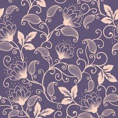Vector Seamless Vintage Floral Pattern Stylized Stock Vector (Royalty Free) 165222287 - Trend Topic For You 2020 Background Vintage, Paper Background, Textured Background, Line Art Flowers, Flower Art, Molduras Vintage, Hand Painted Sarees, Painted Glass Vases, Illustration Blume