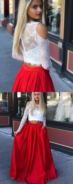 5262dc9106fa91 Jewel Two Piece Long Sleeve Lace Bodice Prom Dress with Red Skirt pd1521