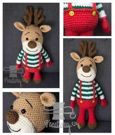 Háčkovaný vánoční sob Crochet Baby, Knit Crochet, Knitting Patterns, Diy And Crafts, Teddy Bear, Christmas Ornaments, Holiday Decor, Handmade, Stuffed Toys
