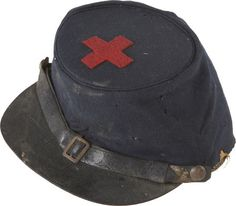Federal Forage Cap with an original, hand cut, red wool 1st Division, VI Corps badge.