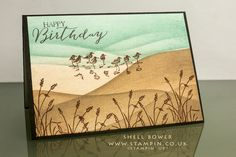 hand crafted birthday card .... Wetlands scene ... beautiful scent with landscape lines sponged for water and sand dunes ... Stampin' Up!
