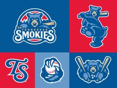 The primary mark together with a handful of the extensions of the new Tennessee Smokies brand identity system.