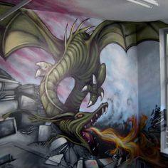 Dragon Graffiti Art by Graffiti Kings Artist, go to www.graffitikings.co.uk for more Street Art, Stencil Art & Graffiti Art.