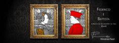 """""""Federico"""" e """"Battista"""" - acrilico ed inchiostro su tela (acrylic and ink on canvas) - 30x40 cm - by Vincenzo Pazzi - http://vincenzopazzi.com/ - #art #acrylic #ink #canvas #federico #battista #federicodamontefeltro #battistasforza #federicoebattista"""