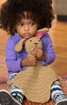 Bunny Comfort Blankie Free Crochet Pattern from Red Heart Yarns ~ For Lola's new baby girl