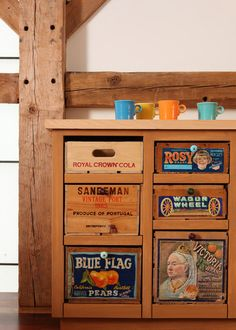 Drawers made out of old crates. Rustic decor ideas