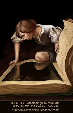 """Archipelago #6 cover art © Emilia DZIUBAK (Artist, Poland). """"The theme is """"IDENTITY."""" Inspired by Narcissus by Caravaggio."""" ... A self-absorbed young man see only his mirror as he peers into a huge book."""