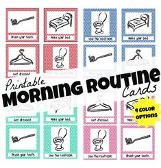 Printable Morning Routine Cards; http://www.icanteachmychild.com/2012/08/printable-morning-routine-cards/?utm_source=feedburner_medium=email_campaign=Feed%3A+ICanTeachMyChild+%28I+can+teach+my+child%21%29