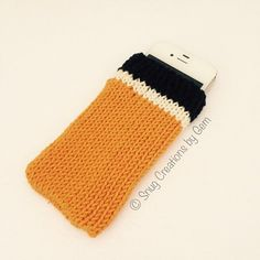 Orange stripy phone case, orange, white and black knitted phone cosy, phone sleeve, mobile accessories, father's day gift, cell phone case