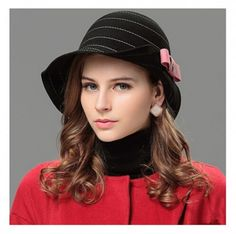 Women wool cloche hat for winter with bow