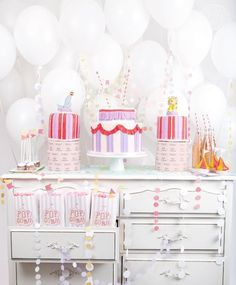 sweet circus party decorations and balloon backdrop